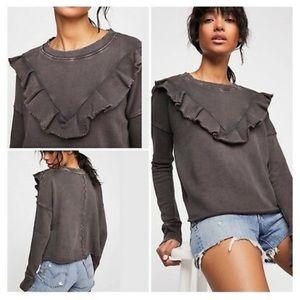NWT Free People Oh LaRuffle Pullover Sweatshirt